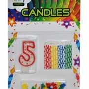 Cijfer kaarsen rood nummer 5