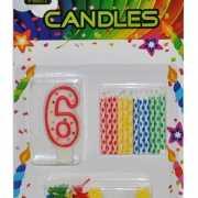 Cijfer kaarsen rood nummer 6