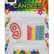 Cijfer kaarsen rood nummer 9