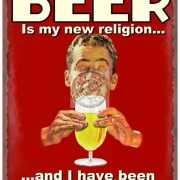 Metalen platen bier nieuwe religie
