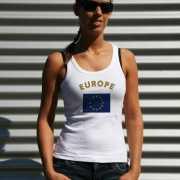 Mouwloos shirt met vlag Europa print voor dames