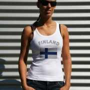 Mouwloos shirt met vlag Finland print voor dames