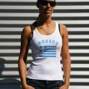 Mouwloos shirt met vlag Griekenland print voor dames