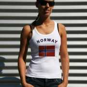 Mouwloos shirt met vlag Noorwegen print voor dames