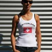 Mouwloos shirt met vlag Zwitserland print voor dames