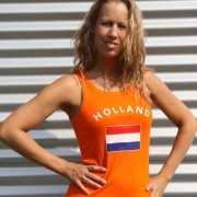 Mouwlose shirts met vlag van Holland dames