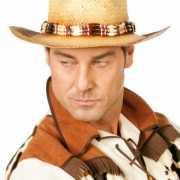Luxe cowboy hoed voor heren met kralenketting