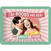 Nostalgisch muurplaatje The Smile is Fake 15 x 20 cm