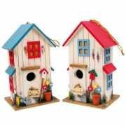 Vogelhuisje set van 2 rood en blauw