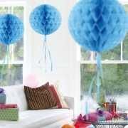 Feestversiering baby blauwe decoratie bol 30 cm
