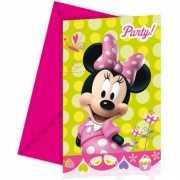 Feestartikelen Minnie Mouse uitnodigingen 6 stuks
