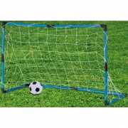 Blauw voetbaldoeltje met bal