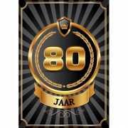 Decoratie poster 80 jaar zwart en goud