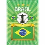 Deurposter Brazilie met vlag