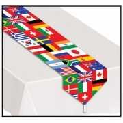 Smal tafelkleed met wereld vlaggen