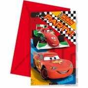 Cars themafeest uitnodigingen 6 stuks