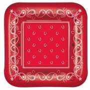 Western themafeest rode bordjes 8 stuks