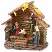 Kerststal met lampjes 13 cm