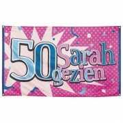 50 jaar gevelvlag Sarah gezien 90 x 150 cm