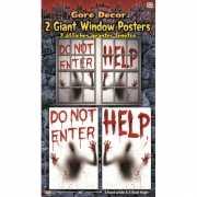 Halloween Rraamstickers horror 2 stuks