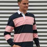 Rugbyshirts navy met roze