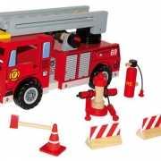 Houten brandweerauto met  accessoires