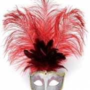 Oog masker met rode veren