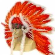 Indianen hoofdtooi rood/oranje