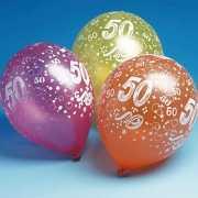 Gekleurde 50 jaar ballonnen 5 stuks
