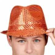 Oranje hoedje met pailletten