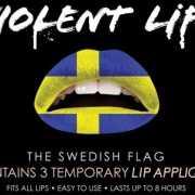 Zweden lip tattoo met Zweedse vlag
