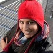 Roze Inca winter muts met touwtjes