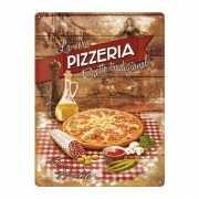 Muurplaatje pizza van metaal