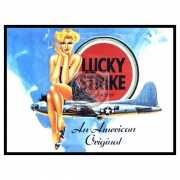 Grote muurplaat Lucky Strike 30x40cm