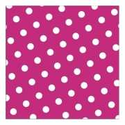 Papieren servetten roze met stippen 20 stuks