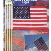 Vier Amerikaanse zwaaivlaggetjes