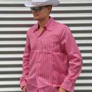 Cowboy blouse roze voor heren