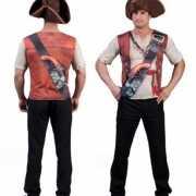Piraat shirt met 3D opdruk voor heren