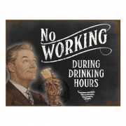 Metalen muurplaat drinking hours 30 x 40 cm