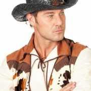 Zwarte cowboyhoed van stro