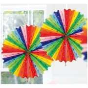 Decoratie waaier regenboog kleuren 45 cm