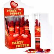 Party popper rode pluche hartjes