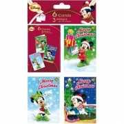 Disney Minnie Mouse kerstkaarten 6 stuks