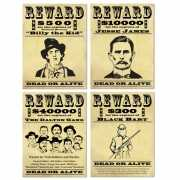 Wanddecoratie Wanted posters 4 stuks