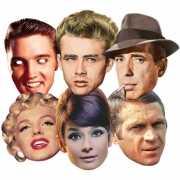 Hollywood sterren maskers 6 stuks