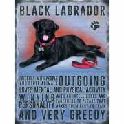 Metalen muurplaat zwarte Labrador 30 x 40 cm