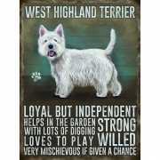 Metalen muurplaat West Higland terrier 30 x 40 cm