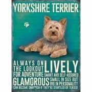 Metalen muurplaat Yorkshireterrier 30 x 40 cm