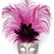 Oogmasker roze met verentooi