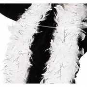 Witte boa met zilveren glinsters